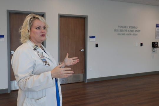 Nancy Anne Teems, associate director of critical care, talks about the Vogter Neuro Intensive Care Unit in the M.T. Mustian Center at Tallahassee Memorial Hospital Friday, April 5, 2019.