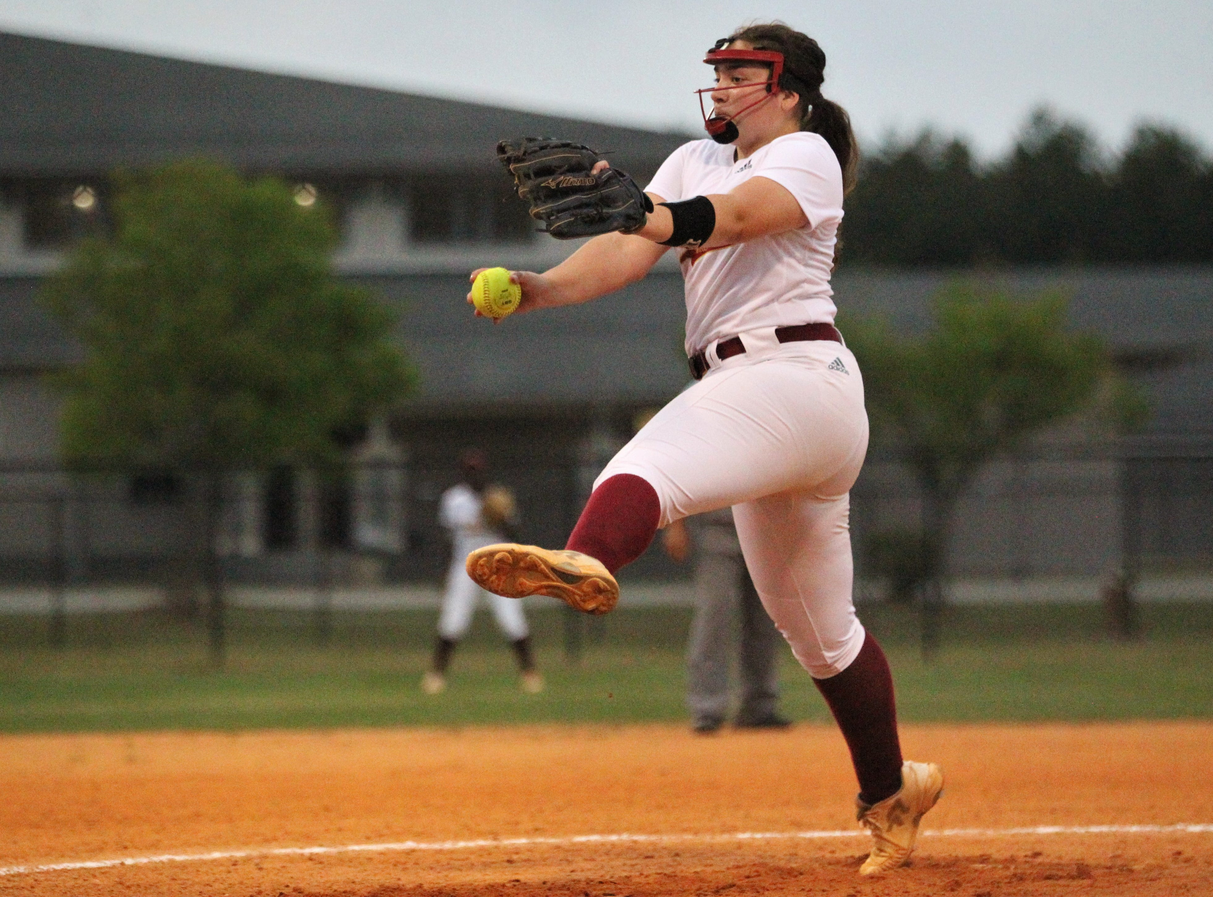 Florida High junior Julia Hayes pitches as Lincoln's softball team beat Florida High 7-3 on Thursday, April 4, 2019.