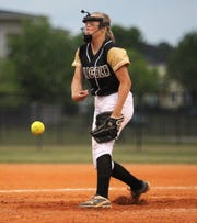 Lincoln freshman Gwendolen McGinnis pitches as Lincoln's softball team beat Florida High 7-3 on Thursday, April 4, 2019.