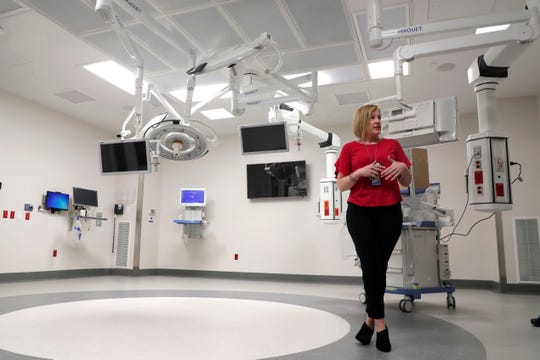 Katie Hill, project manager, in one of the many operating rooms at the M.T. Mustian Center at Tallahassee Memorial Hospital Friday, April 5, 2019.