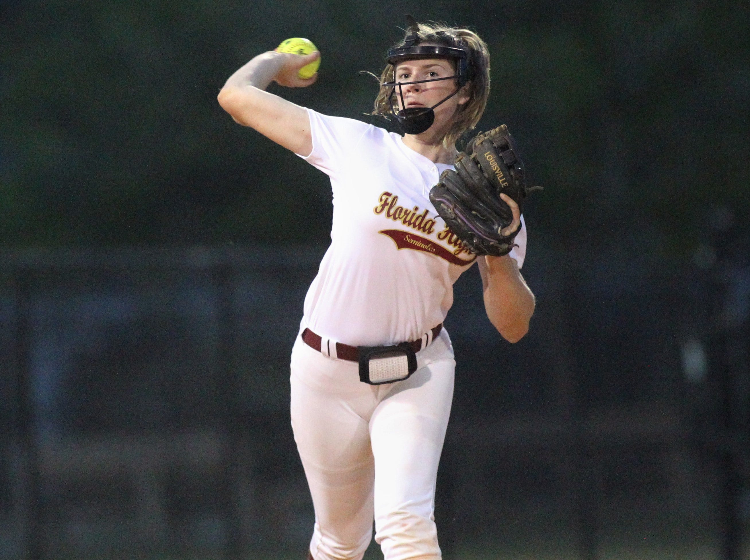 Florida High sophomore shortstop Addisan Langston throws to first for an out as Lincoln's softball team beat Florida High 7-3 on Thursday, April 4, 2019.