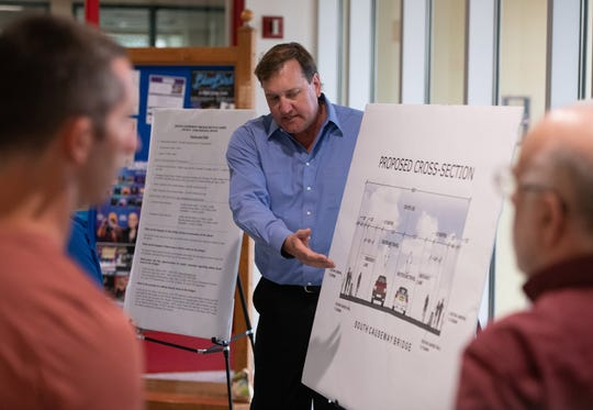 Peter Buchwald, the executive director of the St. Lucie Transportation Planning Organization, discusses the proposed redesign of the South Causeway Bridge during a public meeting Thursday, April 4, 2019, at Fort Pierce City Hall. The St. Lucie Transportation Planning Organization proposed redesign calls to reduce the number of lanes on the bridge from four to two, increase the widths of the two inside travel lanes and re-stripe the two outside travel lanes for 8.5-foot wide buffered bicycle lanes that also will be designated for emergencies.