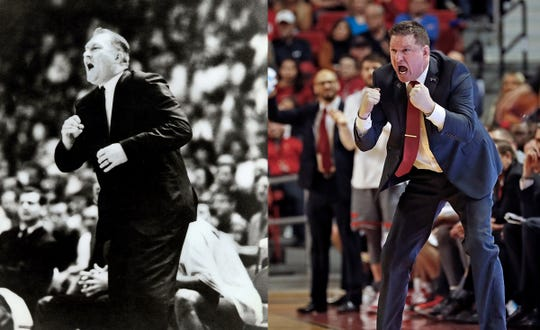 Some UTEP fans see similarities between coach Don Haskins, left, and his 1966 Miners team, and Chris Beard, right, and this season's Texas Tech Red Raiders.