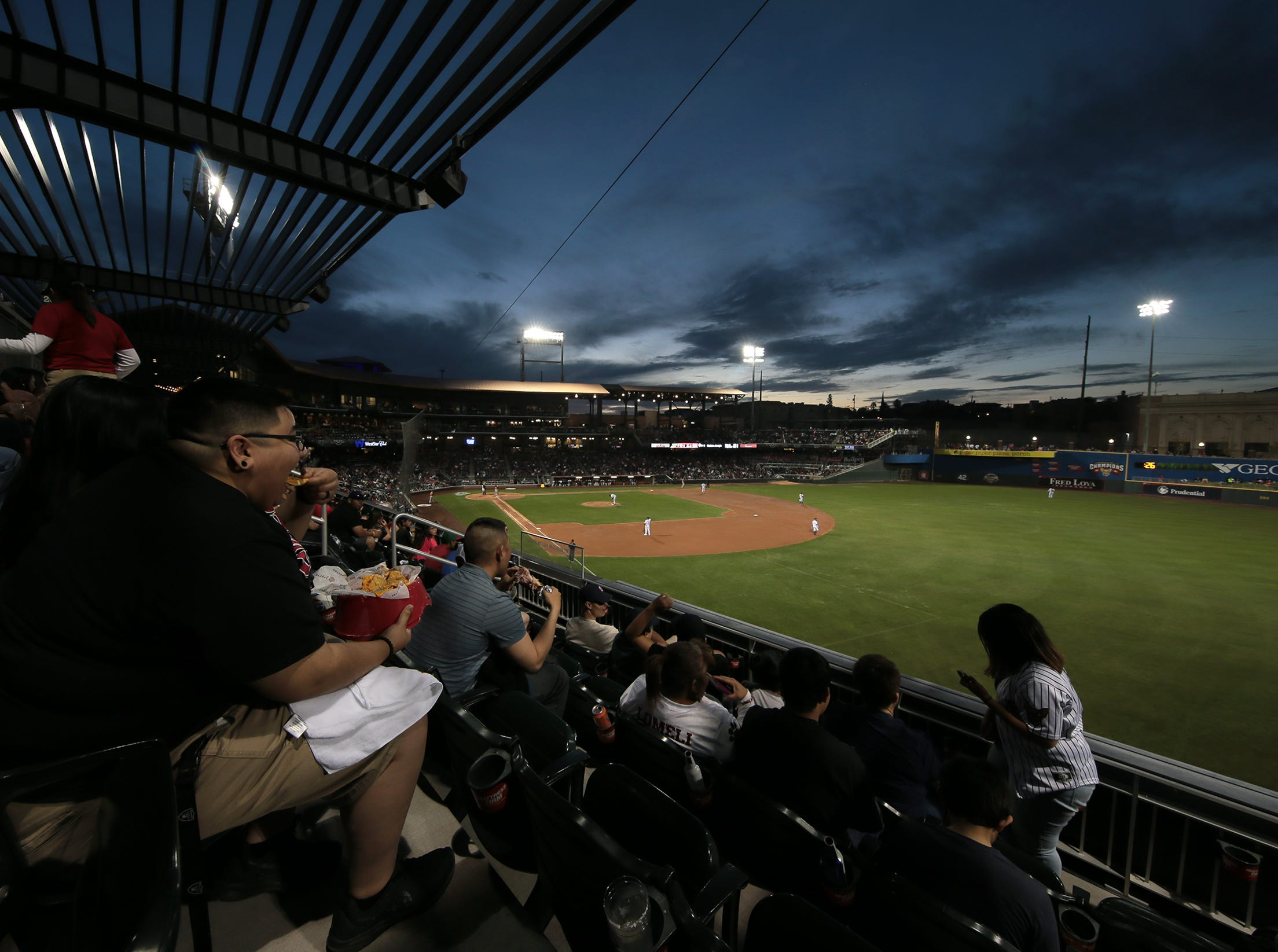 The sun sets over Southwest University Park for the first time in the 2019 season.