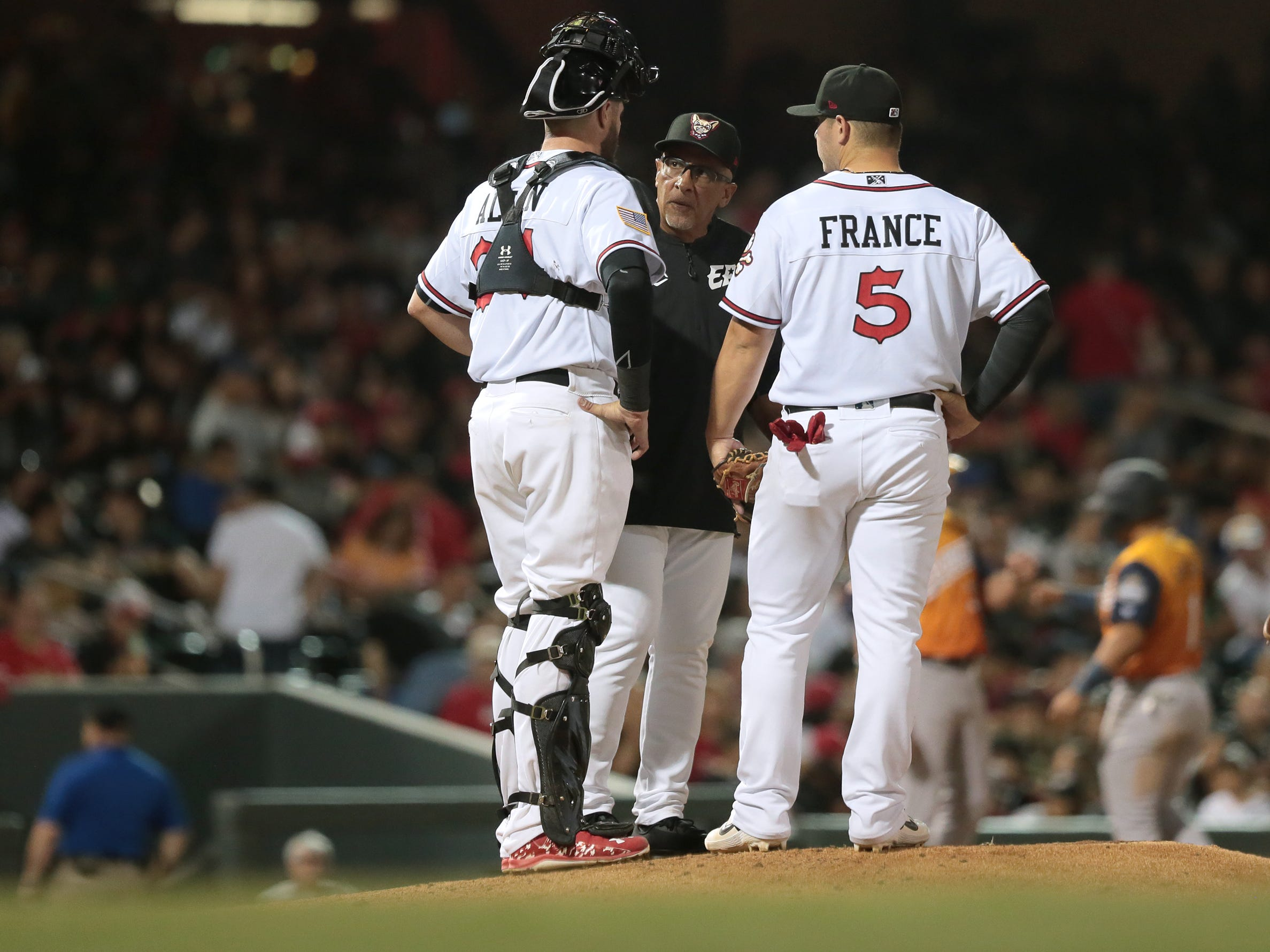 El Paso's new skipper Edwin Rodriguez holds his first mound meeting on opening night Thursday.