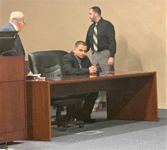 Former Pfc. Joe Antony Cabral, seated, was sentenced by a jury Friday, April 5, 2019, to 42 years in the Feb. 23, 2018, death of 21-year-old Pfc. Zachary S. McGuire.