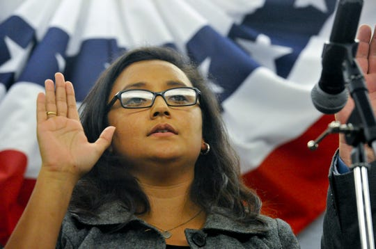 Former Oxnard City Councilwoman  Dorina Padilla gets sworn in on the Oxnard City Council in 2012.