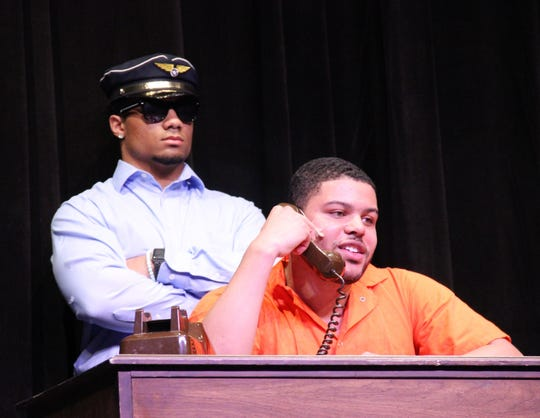"For his talent in the Mr. Delsea contest, Japhire Gillett-Spio, Mr. November, and his friends performed the ""Saturday Night Live"" skit, ""Prison Job."""