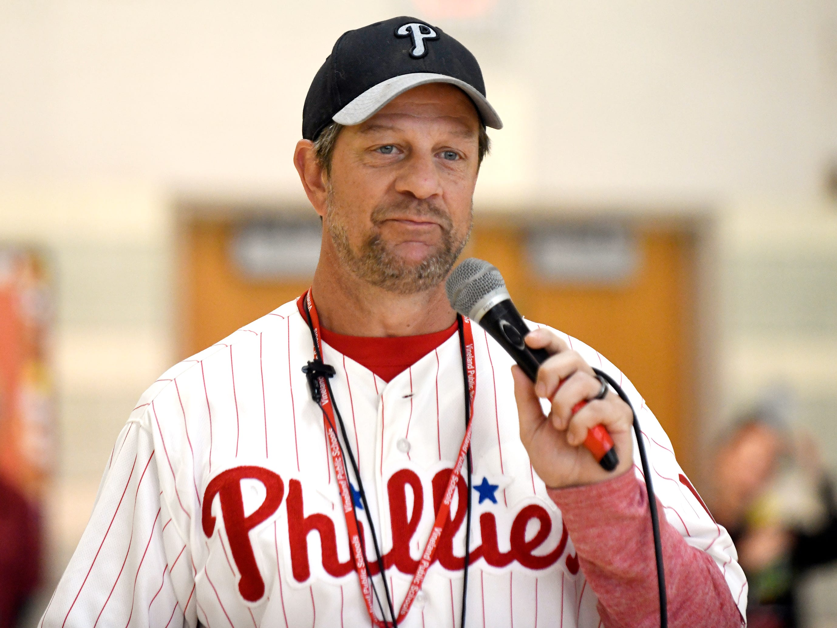 Former Phillies icon Mickey Morandini stopped by Veterans Memorial School in Vineland on Friday and spoke to a packed gymnasium about the importance of youth sports and his career in the major leagues. Morandini signed autographs and even had a catch with some of the students.