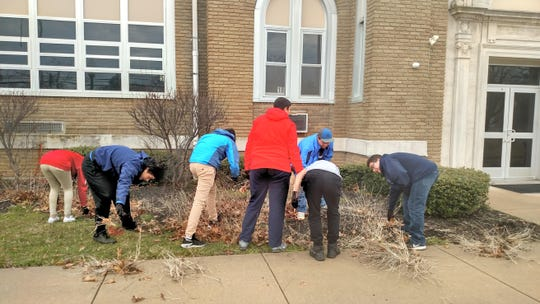 Recently members of the junior class at Cumberland Christian School visited Edgarton Christian Academy for a spring spruce up of the academy's grounds and garden.