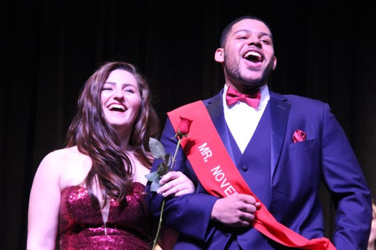 Japhire Gillett-Spio, Mr. November, who was escorted by senior Hannah Hartwell, was named Mr. Delsea.