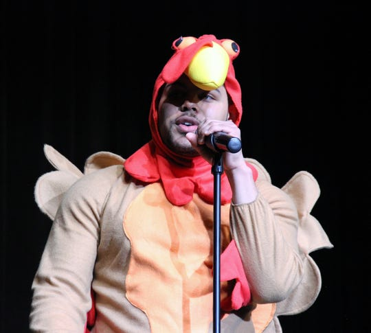 Japhire Gillett-Spio, Mr. November, donned a turkey costume when he introduced himself in the first segment of the Mr. Delsea contest.