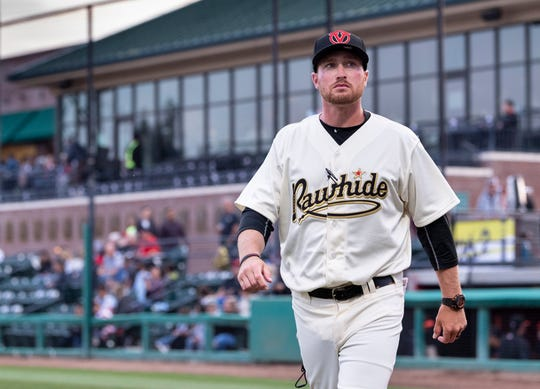Visalia Rawhide Manager Shawn Roof walks back to the dugout before their home opener against San Jose Giants on Thursday, April 4, 2019.