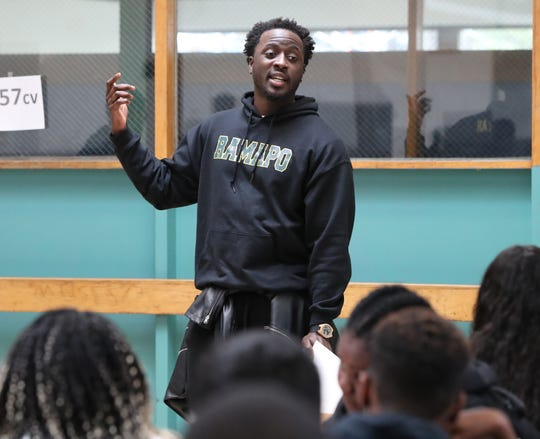 Nana Kwame Adjei-Brenyah visits the Kakiat STEAM Academy to participate in a writing activity with the students April 5, 2019.