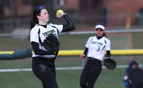 Yorktown center fielder Sam Riccardulli throws in a ball during a softball game against John Jay-East Fishkill on Apr. 4, 2019.