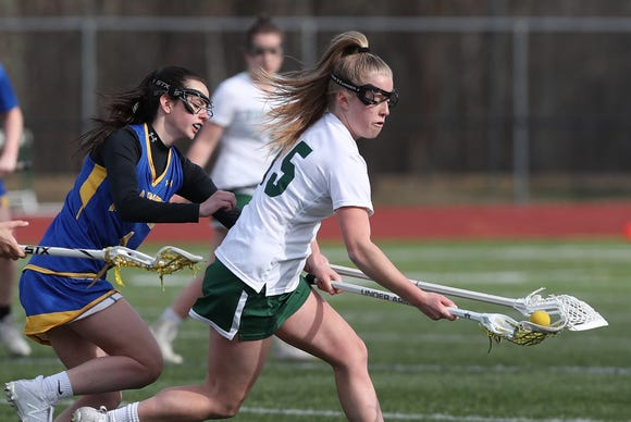 Yorktown's Kelsey McDonnell (15) heads towards the goal in front of Mahopac's Christina Lopreado (1) during girls lacrosse action at Yorktown High School April 4, 2019. Yorktown won the game 14-4.