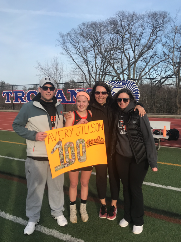 Croton's Avery Jillson Neuwirth after milestone goal on April 4, 2019