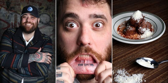 """Christian Petroni, chef and owner of Fortina restaurants, shows his lip tattoo of the words """"The Bronx"""" and his fried meatballs March 27, 2019 in Yonkers."""