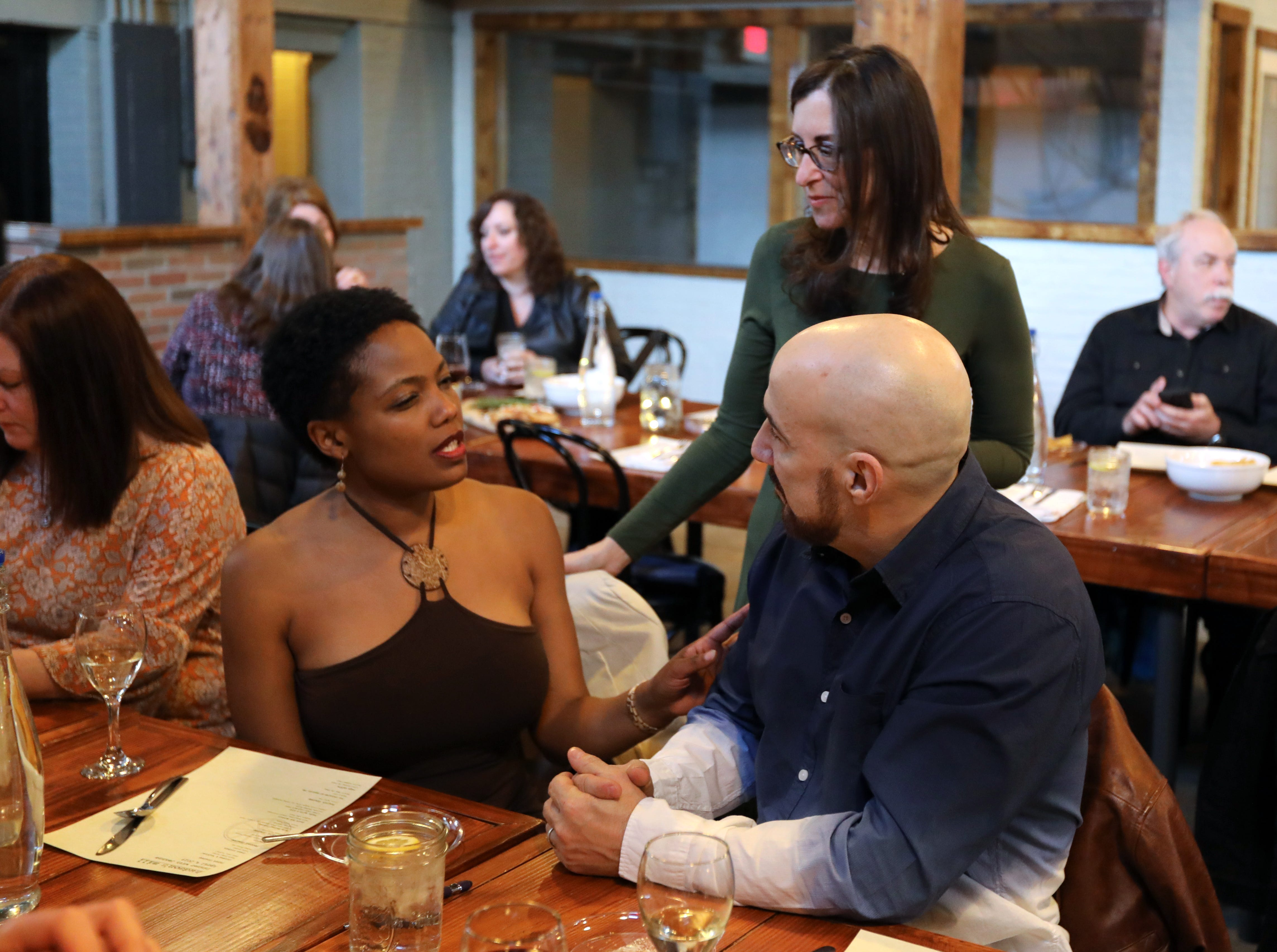 """Gleny and Mike Criscione of Stony Point talk with Jeanne Muchnick during """"Dinner with Jeanne"""" at Hudson's Mill Tavern in Garnerville April 4, 2019."""