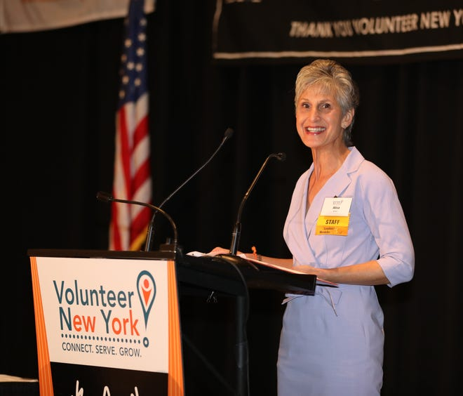 Volunteer New York Executive Director Alisa H. Kesten welcomes the crowd during the 39th Annual Volunteer Spirit Awards benefit breakfast for Volunteer New York, at the Westchester Marriott in Tarrytown, April 5, 2019. The event was presented by Regeneron.