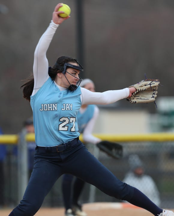 John Jay (EF) Megan Schumacher pitching against Yorktown during softball action at Yorktown High School April 4, 2019. John Jay won the game 17-0.
