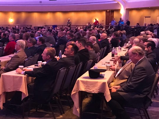A crowd of mostly men from the International Brotherhood of Electrical Workers attend a conference in Washington, D.C. where Joe Biden spoke publicly for the first time since he was accused of unwelcome touching by four women.