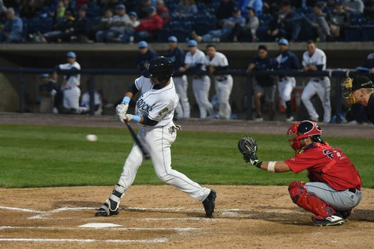 Wilmington Blue Rock's Kyle Isbel works at the plate during the Blue Rocks' season opener Thursday, April 4 against Salem at Frawley Stadium.