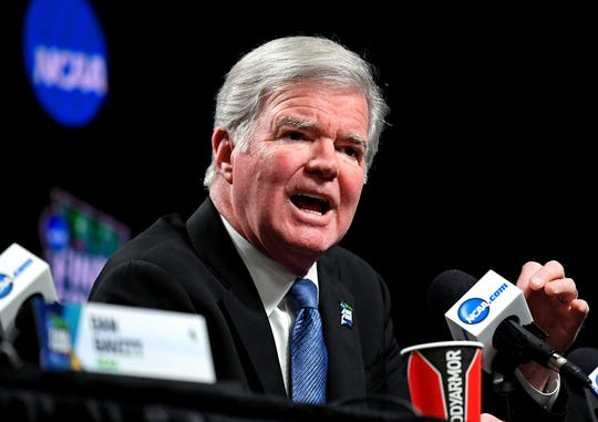 NCAA president Mark Emmert speaks during a press conference at U.S. Bank Stadium at the 2019 Final Four.