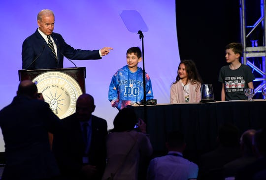Former Vice President Joe Biden delivers remarks at the International Brotherhood of Electrical Workers Construction and Maintenance Conference at the Washington Hilton in Washington D.C.