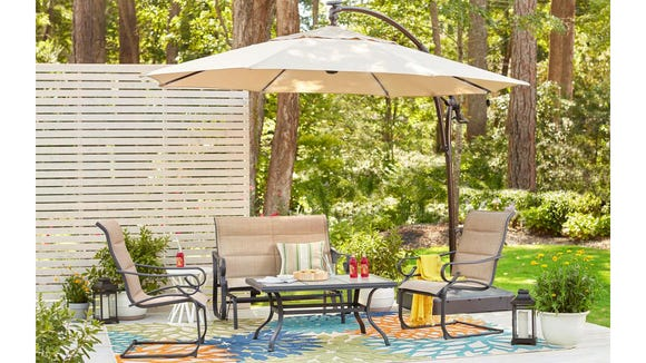 This patio umbrella is perfect for outdoor gatherings that go long into the night.