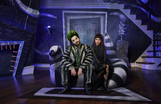 "Alex Brightman (R) stars as Beetlejuice and Sophia Anne Caruso as Lydia in the Broadway production of ""Beetlejuice."""
