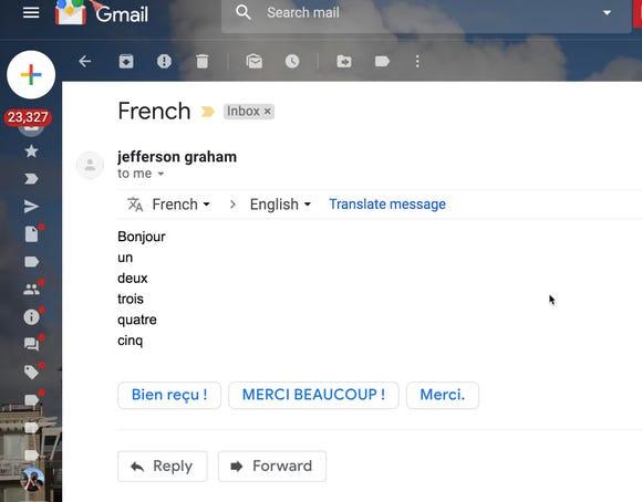 Google translated into Gmail