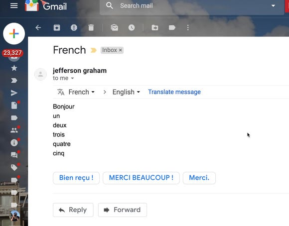 Google translate in Gmail