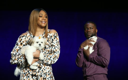 Tiffany Haddish and Kevin Hart speak during CinemaCon at The Colosseum at Caesars Palace on April 03, 2019 in Las Vegas, Nevada.