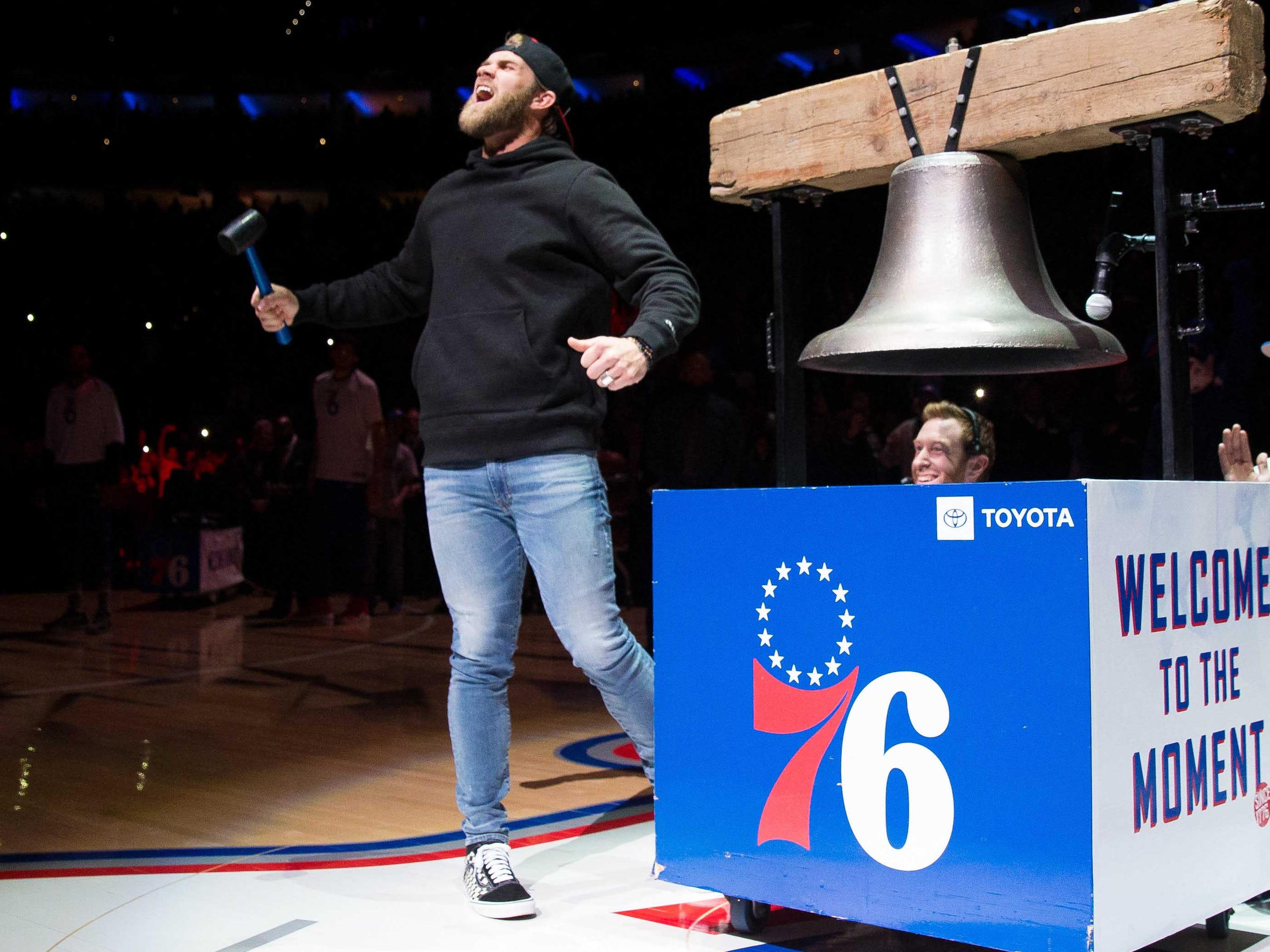 April 4: Phillies outfielder Bryce Harper rings the ceremonial bell and fires up the crowd before the 76ers take on the Bucks in Philadelphia.