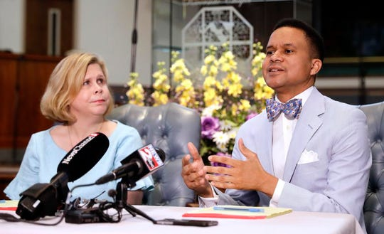 Pastor Furman Fordham, right, speaks on behalf of death row inmate Don Johnson on April 3, 2019, in Nashville. Supporters of Johnson are appealing to Gov. Bill Lee's strong Christian faith in requesting clemency for Johnson, who they say was redeemed by Jesus. At left is Kelley Henry, an assistant federal public defender.