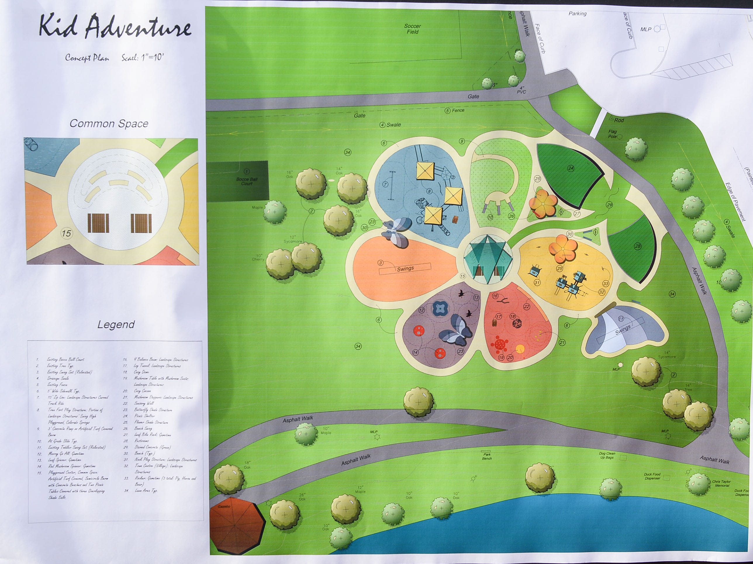 A proposed design for a new KidVenture park at the Anderson Sports and Entertainment Complex was on display during the annual spring cleanup day Saturday.