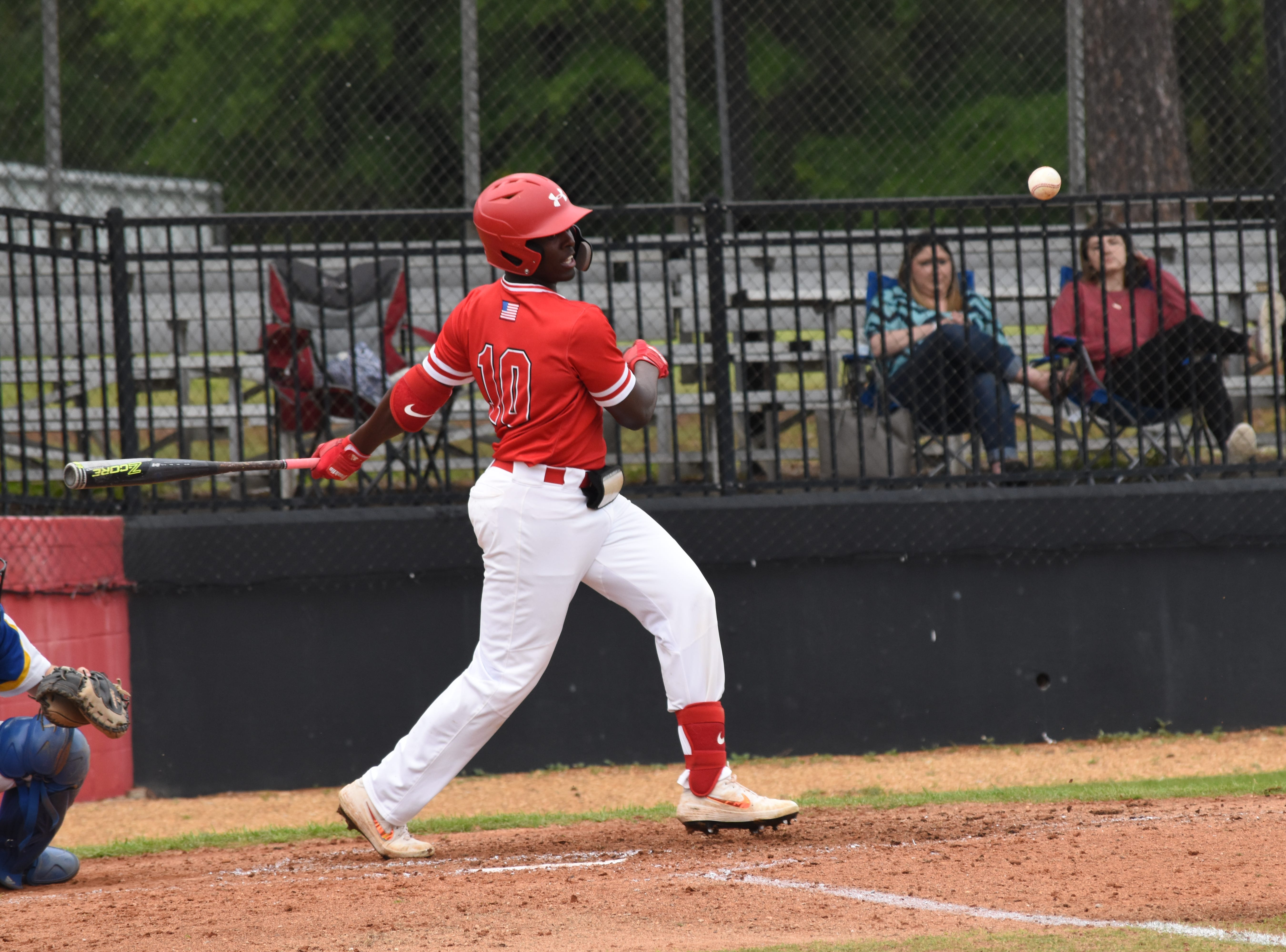 Tioga outfielder Isaac Williams get a hit against Buckeye High School in Game 1 of a double-header Friday, April 5, 2019. Tioga won both games.