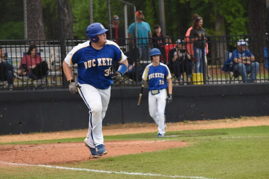 Buckeye first baseman Cade Foster (35) hit a home run in Game 2 of a double-header against Tioga Friday, April 5, 2019. Tioga won both games. The first 10-0 and the second 11-1.