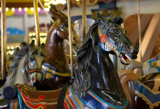 People came from far and wide to ride on the Dr. Floyd Moreland Dentzel/Looff Carousel at Casino Pier in Seaside Heights. This weekend is the last weekend the carousel will be operated because the ride will be disassembled in the fall. Seaside Heights, NJ on April 6, 2019.