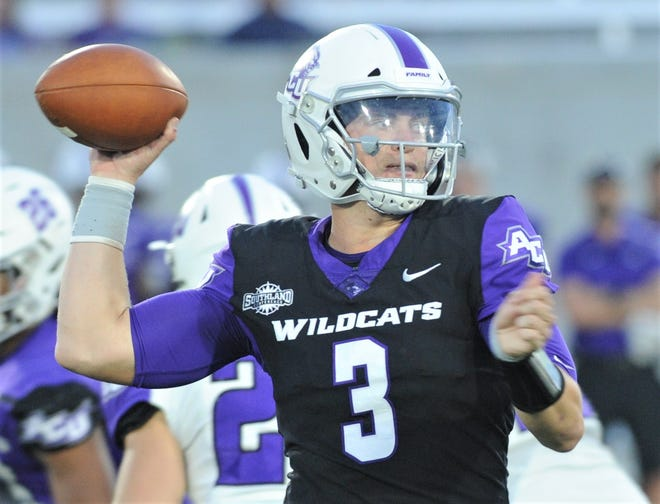 ACU quarterback Luke Anthony (3) prepares to throw the ball during the Wildcats annual spring game Friday, April 5, 2019, at Wildcat Stadium.