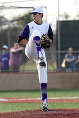 Wylie sophomore Dash Albus (7) leads the team in innings pitched, ERA and wins developing into the staff ace for the Bulldogs this season.