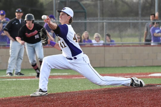 Wylie's Tyler Spears (41) pitches in relief against Aledo on April 5. Spears has earned a win and a save with relief appearances in each of the last four games.