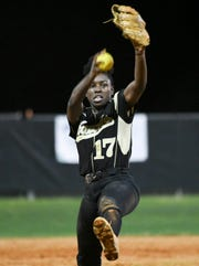 Viera's Karyana Mitchell pitches during a game against Cocoa.