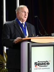 James F. Buchli talks about his time as an astronaut during his induction into the US Astronaut Hall of Fame during ceremonies Saturday at Kennedy Space Center Visitor Complex.