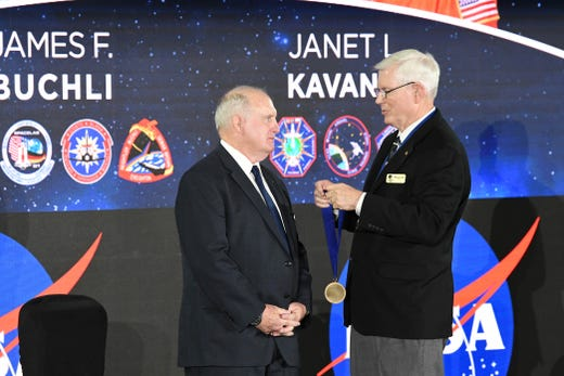 Astronaut Hall of Fame during a ceremony Saturday at the Kennedy Space Center Visitor Complex.