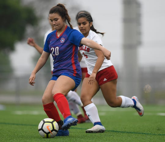 Veterans Memorial faces Gregory-Portland in the girl's playoff soccer game, Friday, April 5, 2019, at Cabaniss Soccer Field.