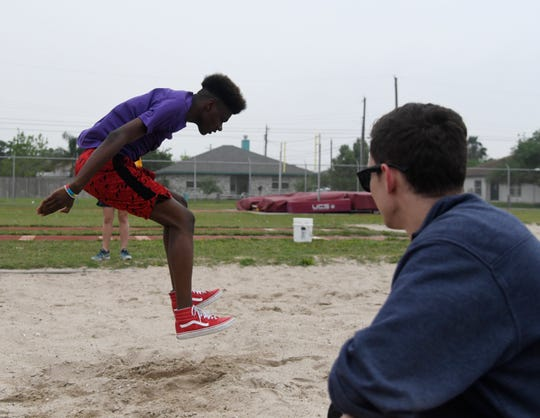 Bobby Davis competes in the long jump during the Special Olympics, Saturday, April 6, 2019, at Hornet Stadium. Davis placed first.