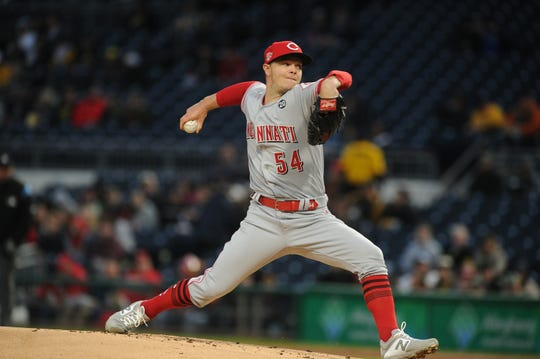 Apr 5, 2019; Pittsburgh, PA, USA; Cincinnati Reds starting pitcher Sonny Gray (54) delivers a first inning pitch against the Cincinnati Reds at PNC Park. Mandatory Credit: Philip G. Pavely-USA TODAY Sports