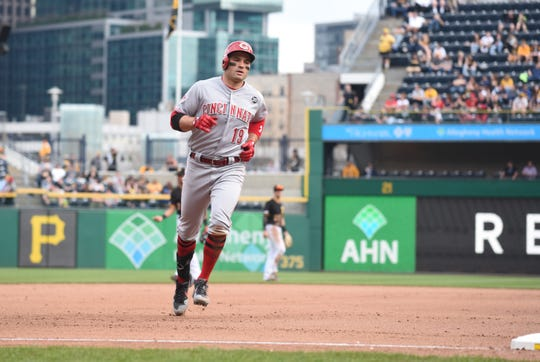 Apr 6, 2019; Pittsburgh, PA, USA;  Cincinnati Reds batter Joeyt Votto (19) rounds the bases after hitting a home run in the eighth inning against the Pittsburgh Pirates at PNC Park. Mandatory Credit: Philip G. Pavely-USA TODAY Sports